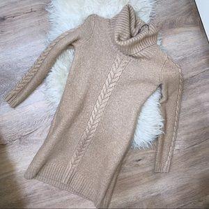 Banana Republic Tan Knit Cowl Neck Sweater Dress